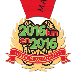 Médaille 2016km en 2016 : Mission Accomplie